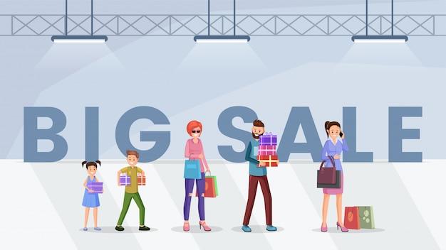 Modello di banner web grande vendita di centro commerciale Vettore Premium