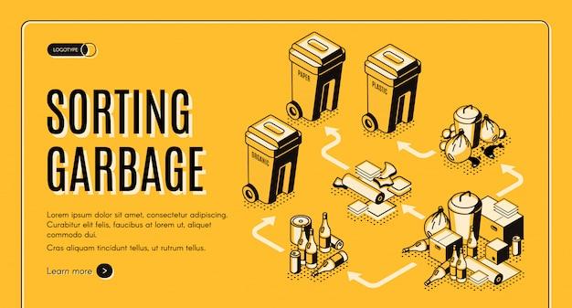 Modello di banner web isometrica ordinamento rifiuti e spazzatura con bidoni della spazzatura Vettore gratuito
