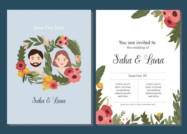 Modello di bella carta floreale invito a nozze Vettore Premium