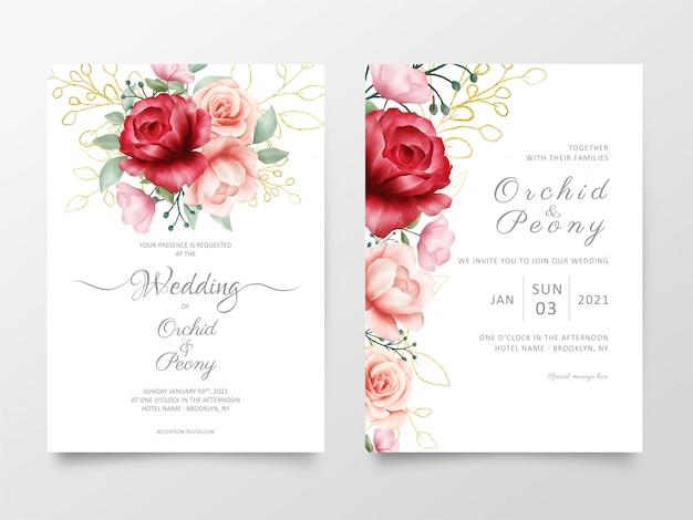 Modello di biglietti d'invito di nozze di fiori con trame di marmo Vettore Premium