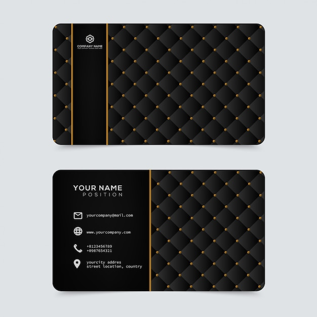 Modello di biglietti da visita in oro di lusso ed elegante Vettore Premium