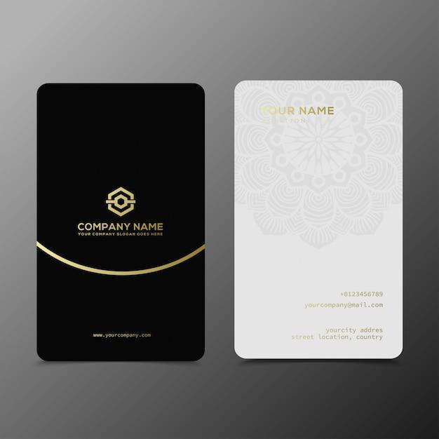 Modello di biglietti da visita in oro nero di lusso ed elegante Vettore Premium