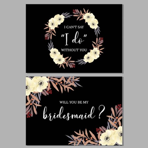 Modello di biglietto d'auguri floreale damigella d'onore con bouquet di anemone Vettore Premium