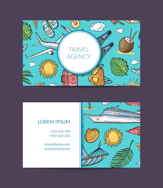Modello di biglietto da visita agenzia viaggi esotici e vacanze Vettore Premium