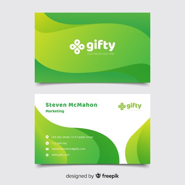Modello di biglietto da visita astratto verde Vettore gratuito