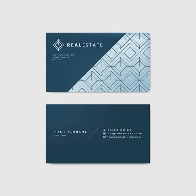 Modello di biglietto da visita aziendale blu Vettore gratuito