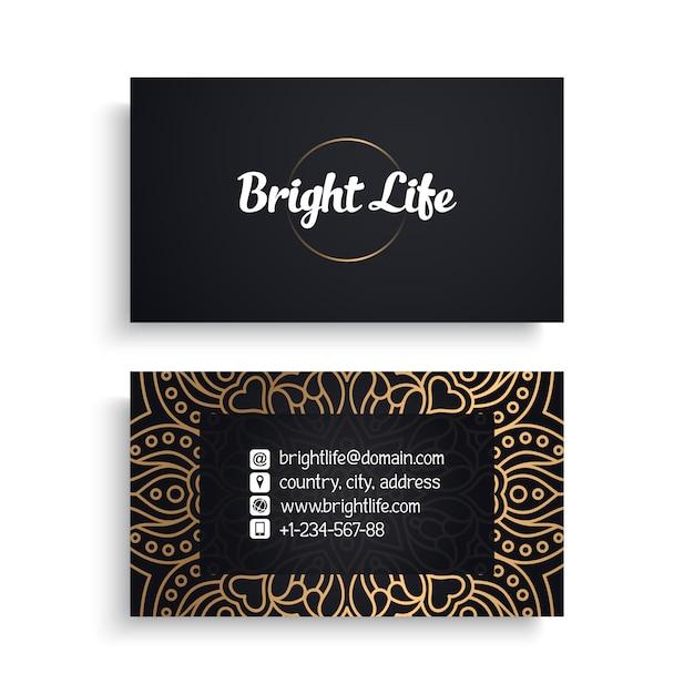 Modello di biglietto da visita aziendale con design di lusso etnico, stile boho Vettore gratuito