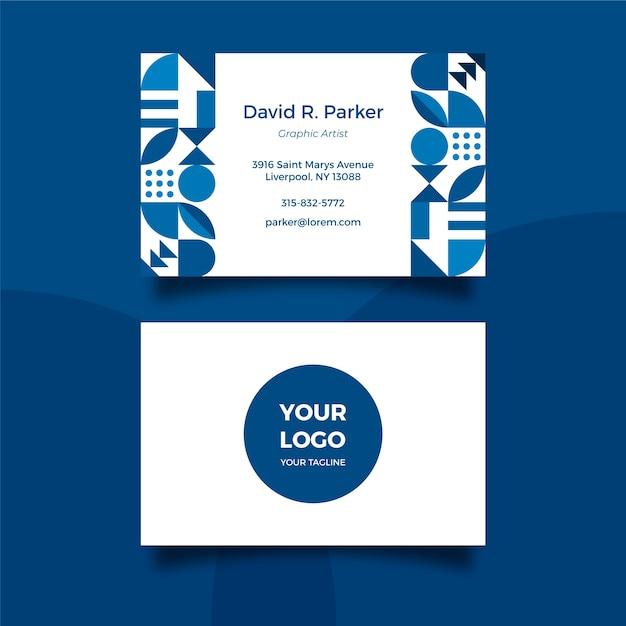 Modello di biglietto da visita blu classico Vettore gratuito