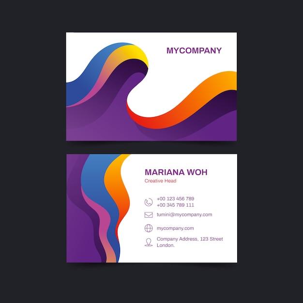 Modello di biglietto da visita colorato astratto Vettore gratuito