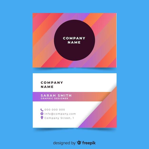 Modello di biglietto da visita colorato con forme geometriche Vettore gratuito