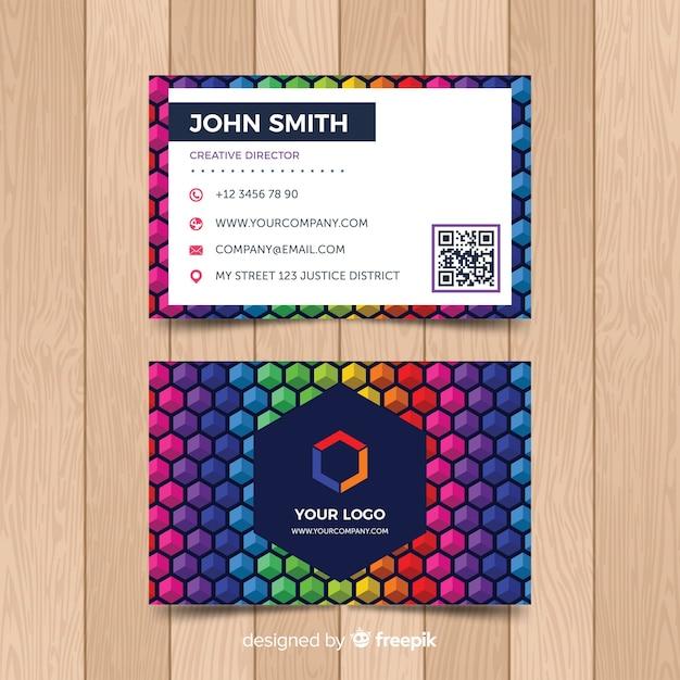 Modello di biglietto da visita colorato Vettore gratuito
