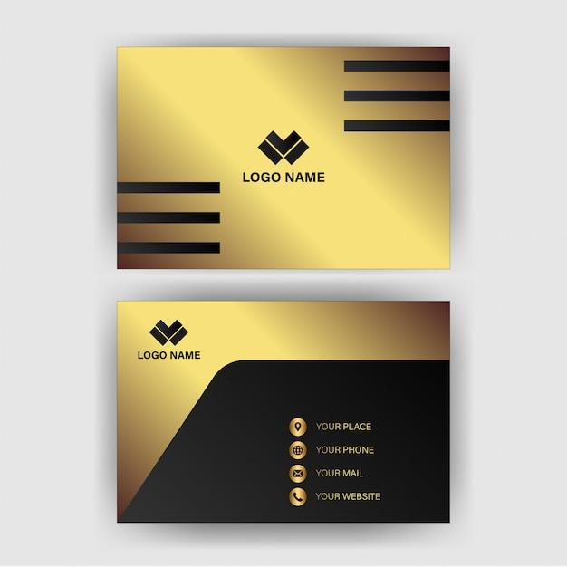 Modello di biglietto da visita con lusso gradiente d'oro Vettore Premium