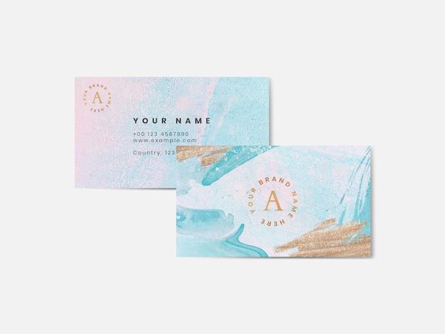 Modello di biglietto da visita dell'acquerello colorato Vettore Premium