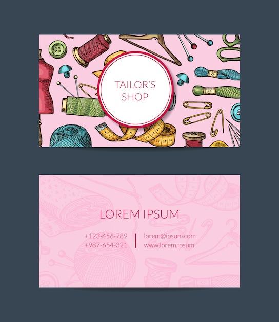Modello di biglietto da visita di elementi disegnati a mano per atelier, corsi di cucito o illustrazione del negozio di mestieri della mano Vettore Premium