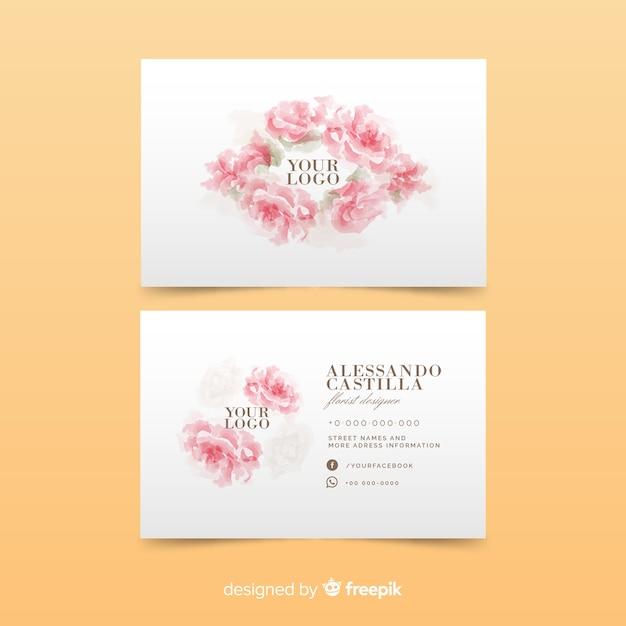 Modello di biglietto da visita di rose rosa Vettore gratuito