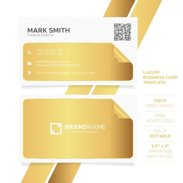 Modello di biglietto da visita dorato di lusso Vettore Premium