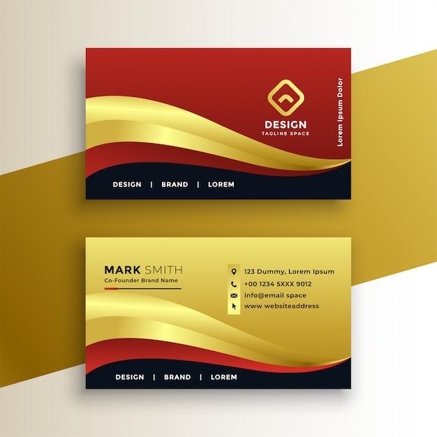 Modello di biglietto da visita dorato premium Vettore gratuito