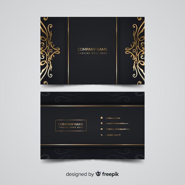 Modello di biglietto da visita elegante dorato Vettore gratuito