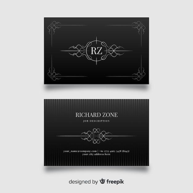 Modello di biglietto da visita elegante nero Vettore gratuito