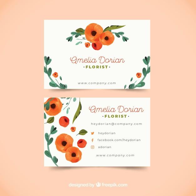 Modello di biglietto da visita floreale dell'acquerello Vettore gratuito