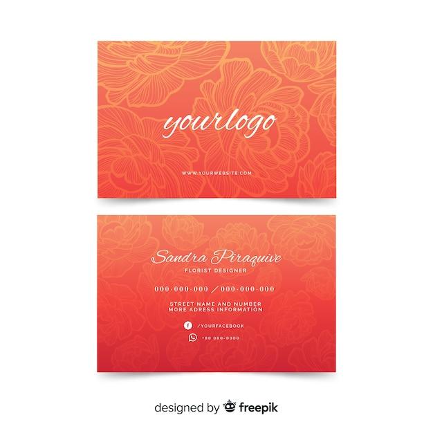 Modello di biglietto da visita floreale rosso dell'acquerello Vettore gratuito