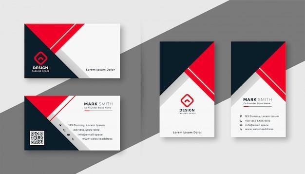 Modello di biglietto da visita geometrico moderno rosso Vettore gratuito