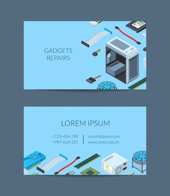 Modello di biglietto da visita isometrico dispositivi elettronici di vettore Vettore Premium