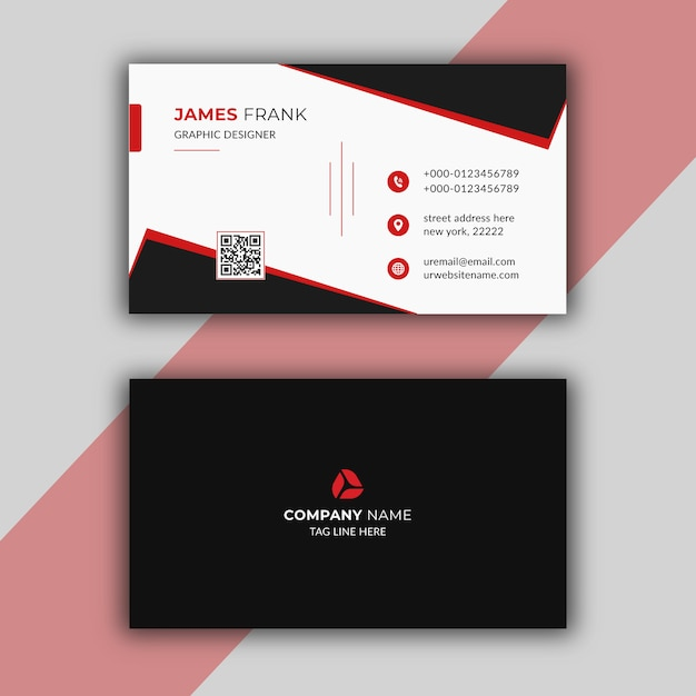 Modello di biglietto da visita moderno rosso Vettore Premium