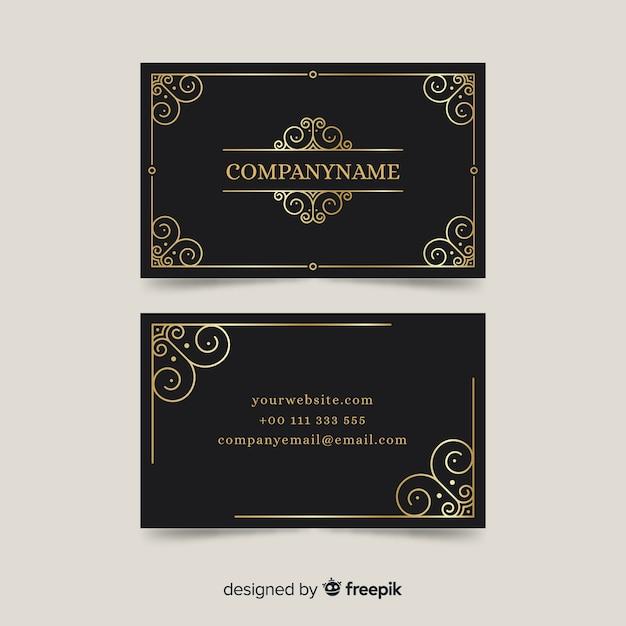 Modello di biglietto da visita ornamentale dorato Vettore gratuito