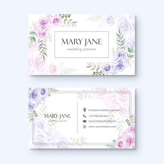 Modello di biglietto da visita per wedding planner o fiorista acquerello stile floreale Vettore Premium