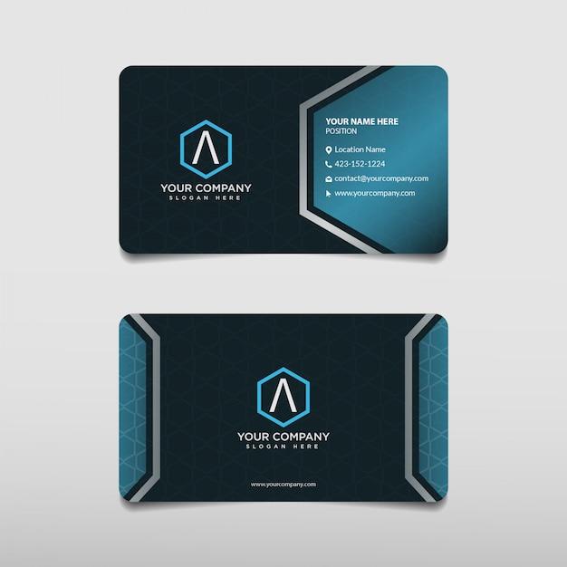 Modello di biglietto da visita professionale blu moderno Vettore Premium