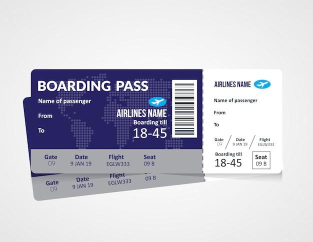 Modello di biglietto della carta d'imbarco della compagnia aerea Vettore Premium
