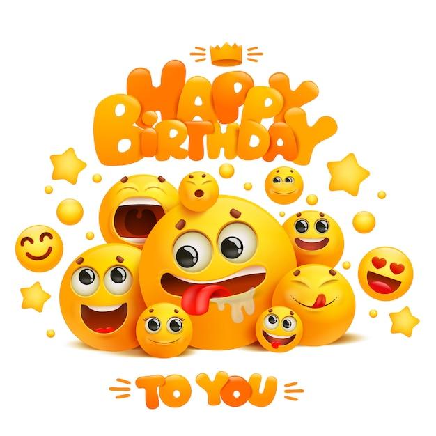 Modello di biglietto di auguri di buon compleanno con un gruppo di personaggi emoji fumetto giallo sorriso. Vettore Premium