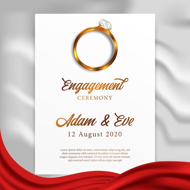 Modello di biglietto di auguri di matrimonio anello fidanzamento Vettore Premium