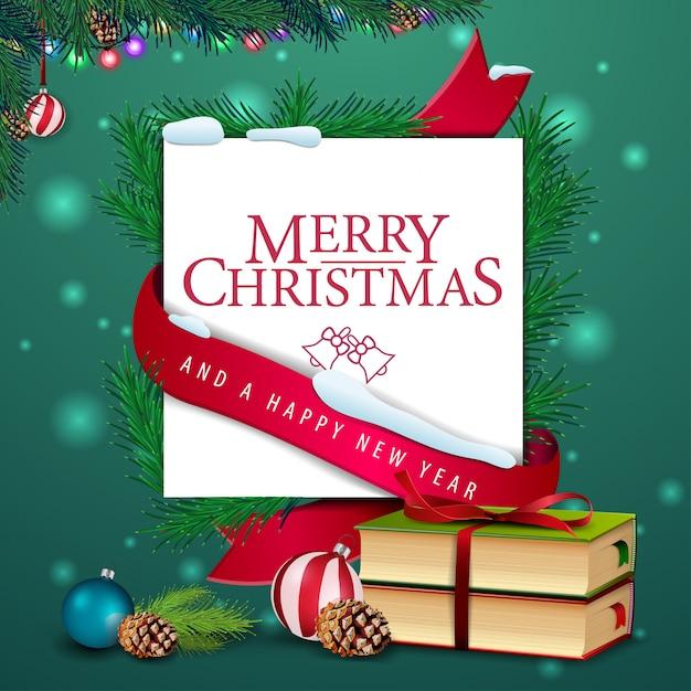 Foto Di Natale Con Auguri.Modello Di Biglietto Di Auguri Di Natale Con I Libri Di
