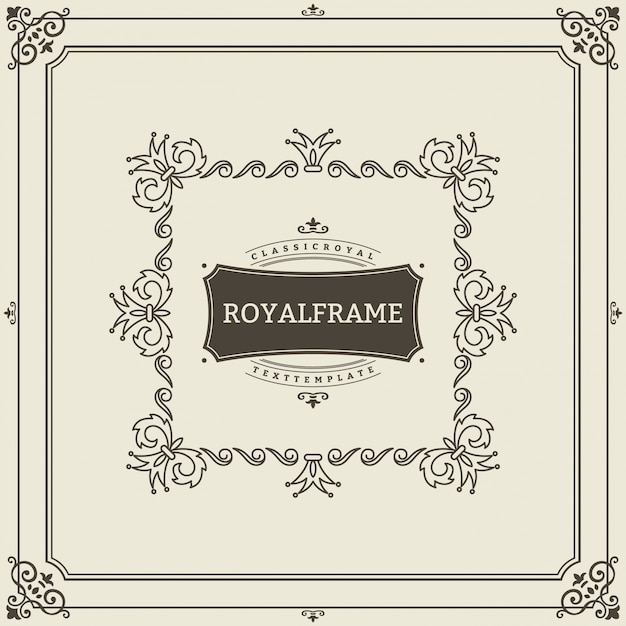 Modello di biglietto di auguri ornamento vintage. invito di lusso retrò, certificato reale. cornice fiorisce. Vettore Premium