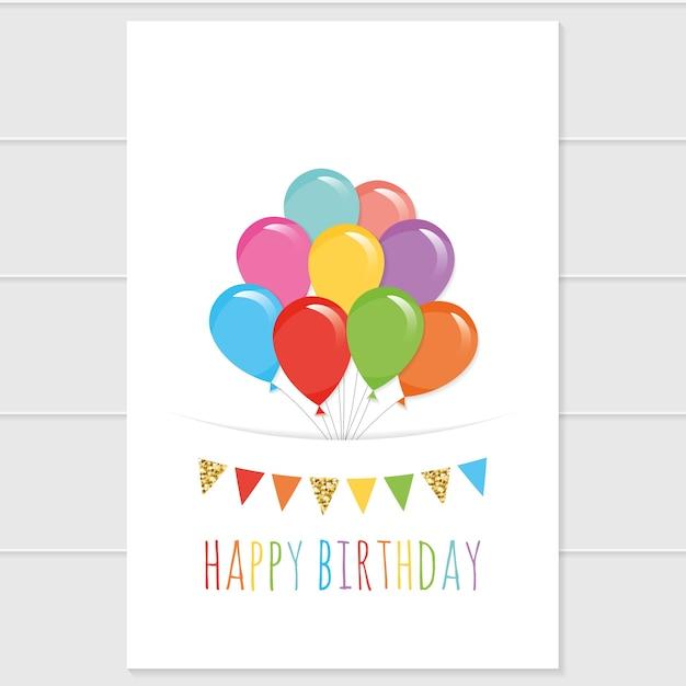Modello di biglietto di compleanno con palloncini colorati Vettore Premium