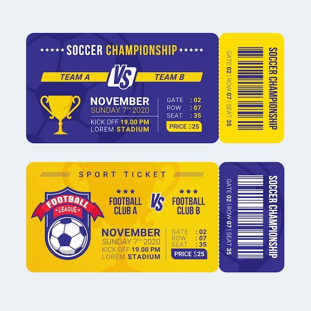 Modello di biglietto di ingresso sport calcio Vettore Premium