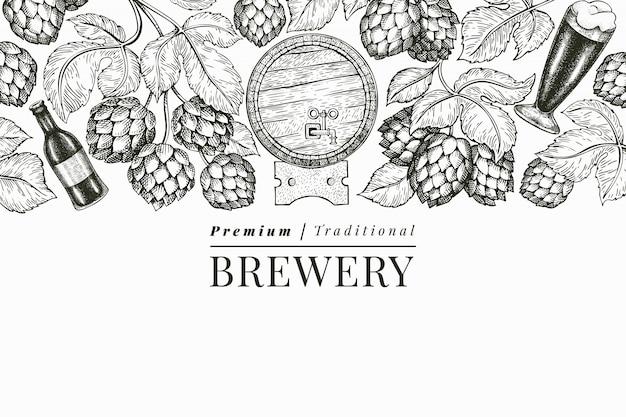 Modello di birra e luppolo. illustrazione disegnata a mano del birrificio. stile inciso. illustrazione di birra retrò Vettore Premium