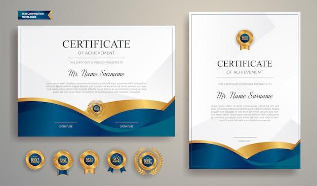 Modello di bordo certificato blu e oro con distintivo di lusso e modello di linea moderna. per esigenze di premiazione, affari e istruzione Vettore Premium
