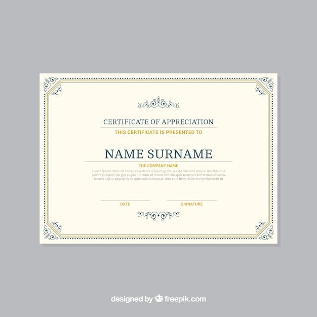Modello di bordo certificato ornamentale Vettore gratuito