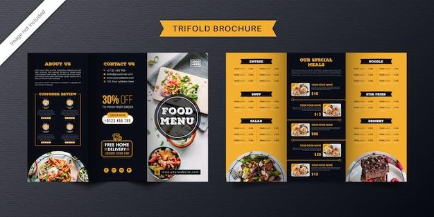 Modello di brochure a tre ante alimentare. brochure di menu fast food per ristorante di colore arancione e blu scuro. Vettore Premium