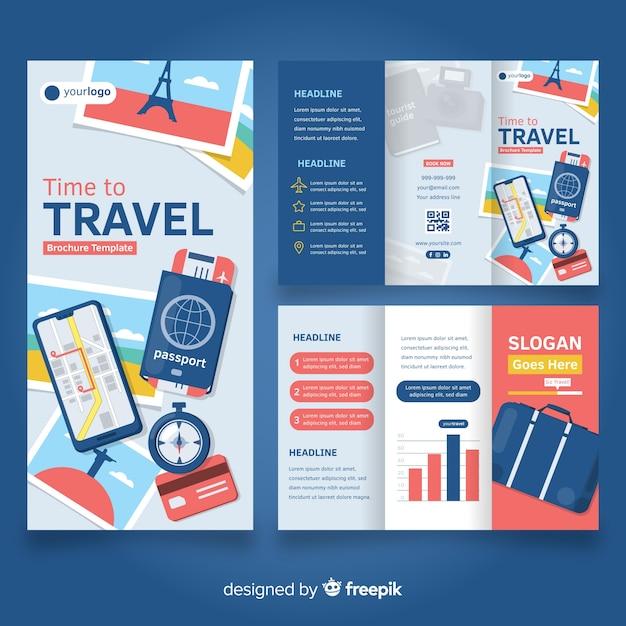 Modello di brochure a tre ante da viaggio Vettore gratuito