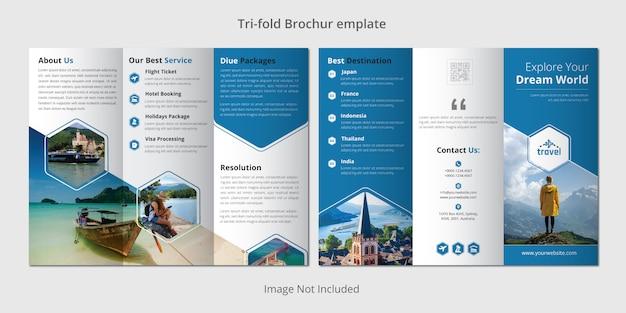 Modello di brochure a tre ante di viaggio Vettore Premium