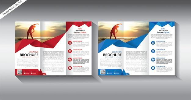 Modello di brochure a tre ante per volantino di layout Vettore Premium