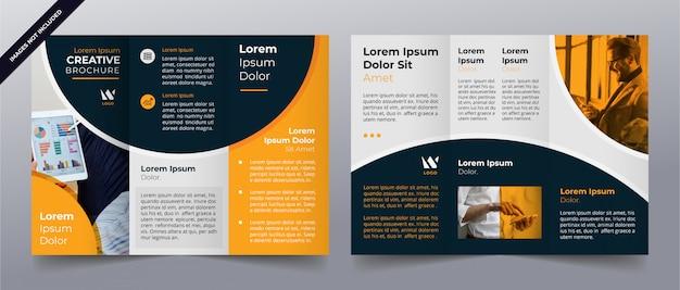 Modello di brochure aziendale a tre ante giallo Vettore Premium