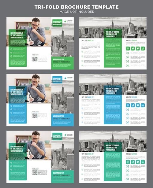 Modello di brochure aziendale a tre ante Vettore Premium
