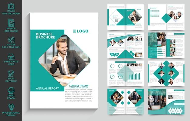 Modello di brochure aziendale con 16 pagine completamente modificabili e pronto per la stampa Vettore Premium