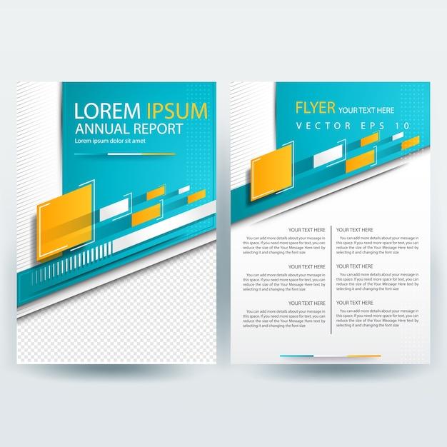 Modello di brochure aziendale con forme geometriche e teal e giallo Vettore gratuito