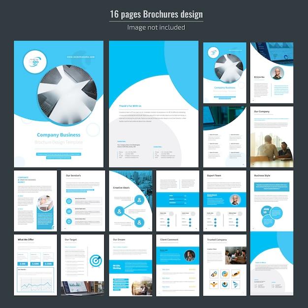Modello di brochure aziendale di 16 pagine blu Vettore Premium